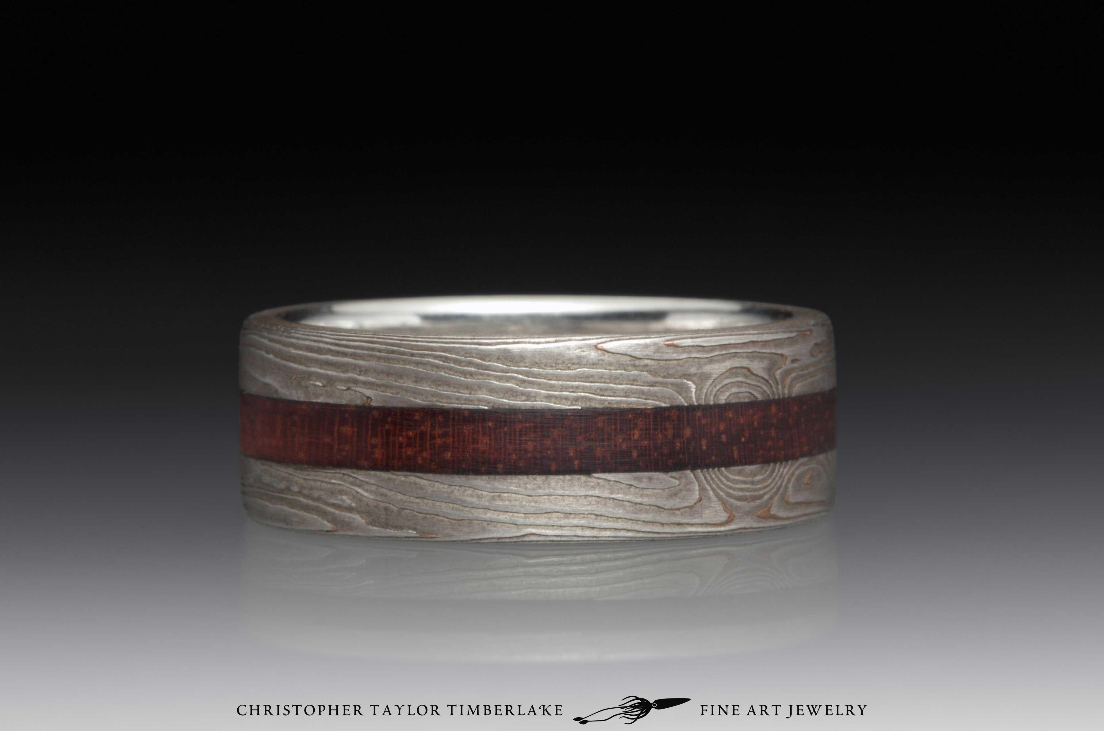 Mokume Gane Wood Inlay Ring 1