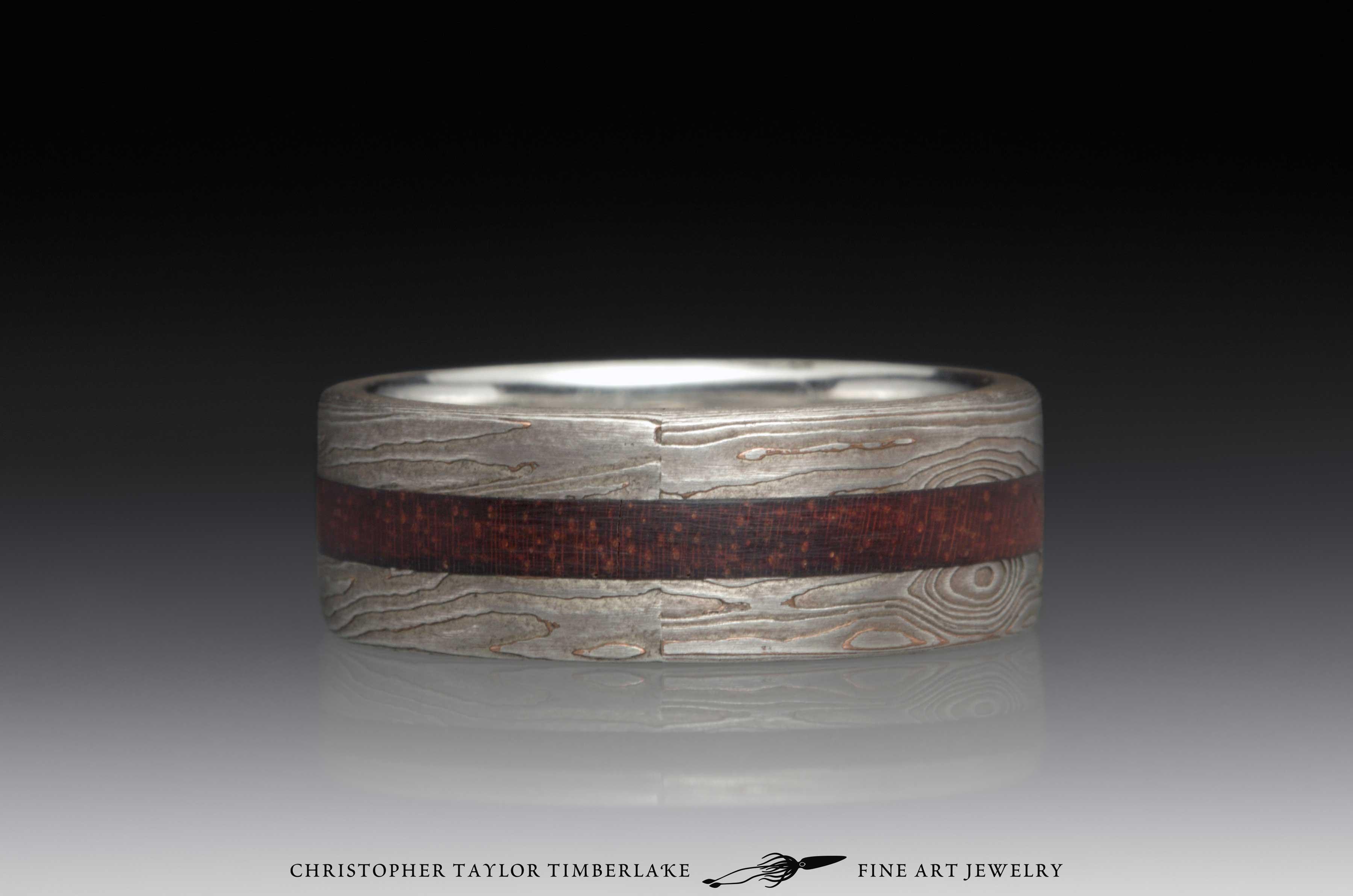 Mokume Gane Wood Inlay Ring 3