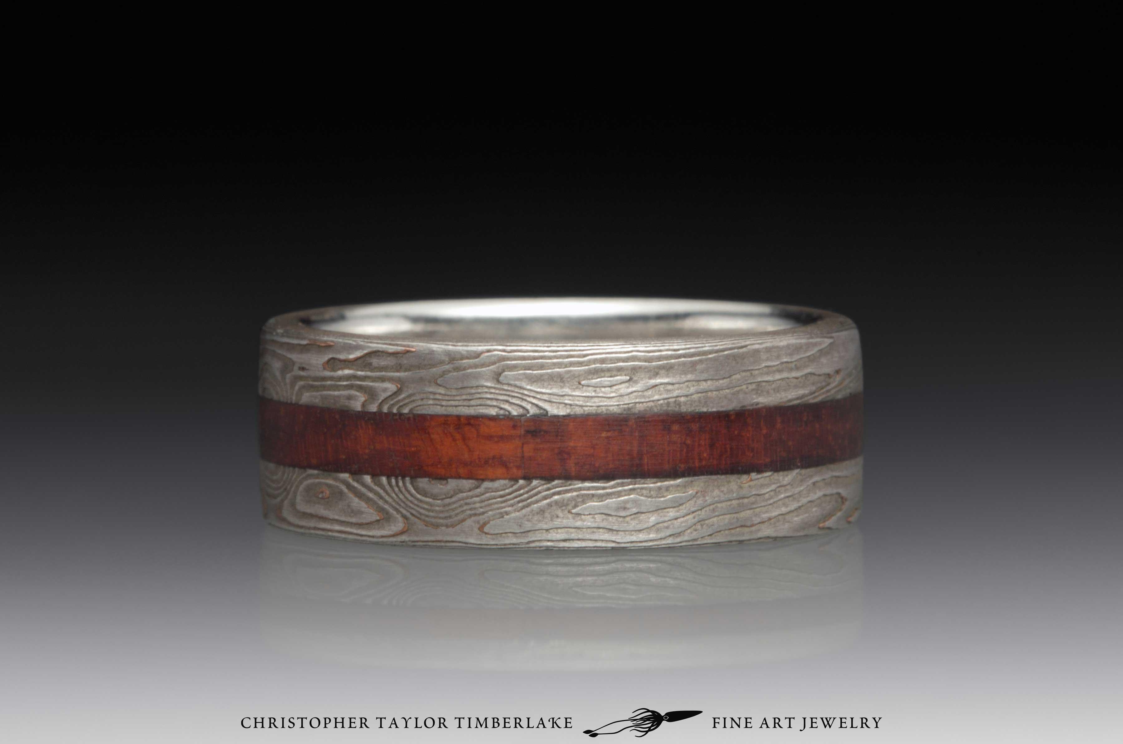 Mokume Gane Wood Inlay Ring 4
