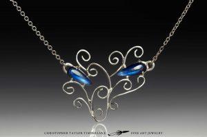 sapphire pendant - kenyan blue sapphire filagree petal pendant Christopher Taylor Timberlake Fine Art Jewelry Austin Texas