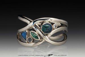 custom three band five stone engagement ring custom jewelry with andamooka opal dianite sapphires