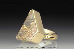 rutilated quartz 18K yellow gold ring